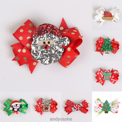 Cute Christmas Elk Tree Santa Hair Clips Hairpin Hair Bows Kids Girl Xmas Gift