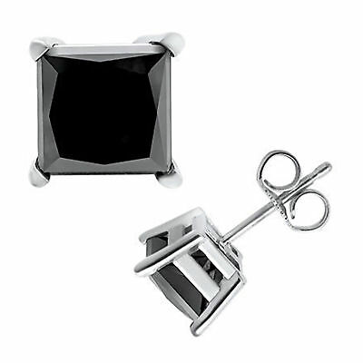 2 CT Princess-Cut Black Diamond 14k White Gold Over Solitaire Stud Earrings 7 MM