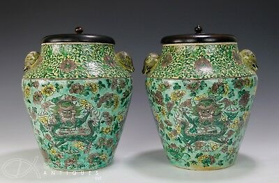 Large Pair Of Antique Chinese Porcelain Jars With Dragons