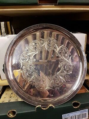 Vintage Silver Plated Round Serving Tray Drinks EPNS - Signed JS 4540