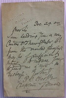 Percy Carmichael Clarke -chaplain at Dinard - 1900 letter: curious old newspaper