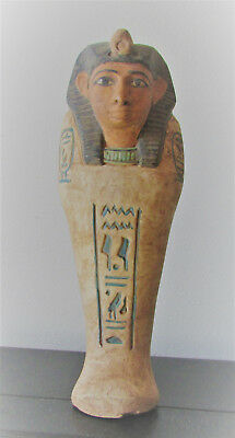 Circa 664-332Bc Ancient Egyptian Ushabti Shabti With Hieroglyphics