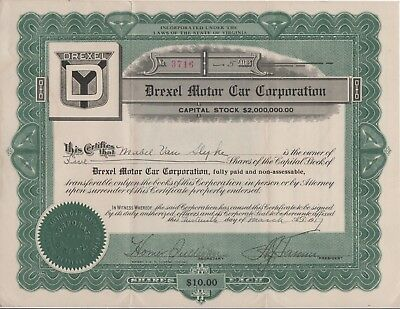 Drexel Motor Car Corporation Stock Certificate and Note