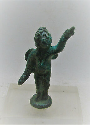 Scarce Circa 100-400Ad Roman Era Bronze Votive Statuette Of Cupid