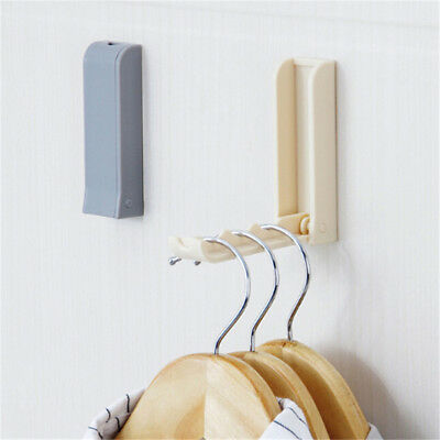 Folding Clothes Hanger Wall Hooks Closet Organizer Rack Storage Towel Hol FO