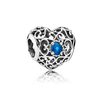 Pre-owned AUTHENTIC PANDORA SILVER CHARM December Signature Heart 791784