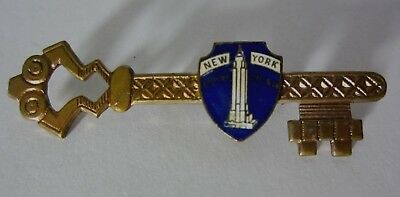 - old vintage antique NEW YORK CITY NYC Souvenir KEY Pin EMPIRE STATE BUILDING