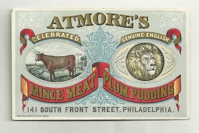 Trade Card ATMORE'S MINCE MEAT ENGLISH PLUM PUDDING G. E. Lyons Boston