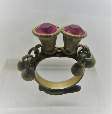 Beautiful Post Medieval Silvered Decorated Ring With Stone