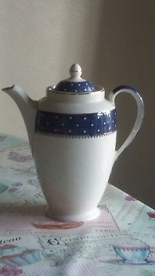 Vintage Ridgway White & Blue Coffee Pot With Gold Effect Trim