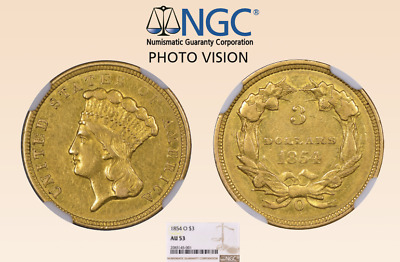 AU 53 1854-O $3 Three Dollar Gold Coin New Orleans Rare Mintage