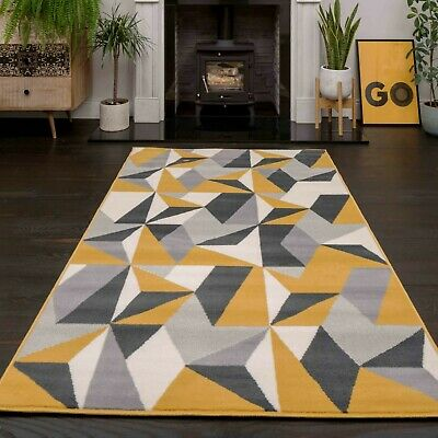 Ochre Mustard Yellow Rug Harlequin Triangles Pattern Living Room Geometric Rugs