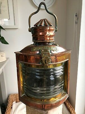 Antique Copper And Brass Corner Fitting Marine Ship's Starboard Lantern