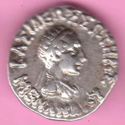 Ancient-Indo Greek-King's Portrait-Drachm-Rarest Beautiful Silver Coin-16