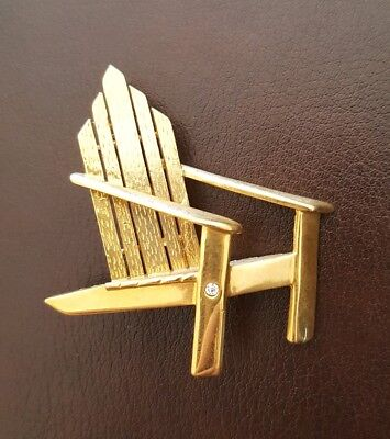 Vintage Liz Claiborne Brooch Pin Huge Beach Chair Clear Rhinestone Gold Tone