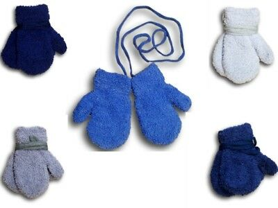 Baby Boys Toddler Winter Fluffy Mittens With String Plain Gloves Size 9M-3Years