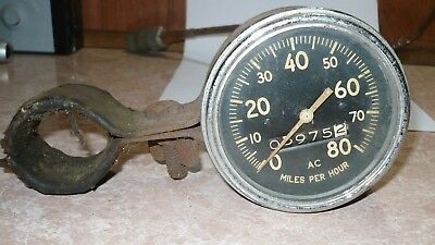 "0-80 (MPH) Vintage AC Speedometer Gauge w/mount / approx 3-1/2"" / untested"