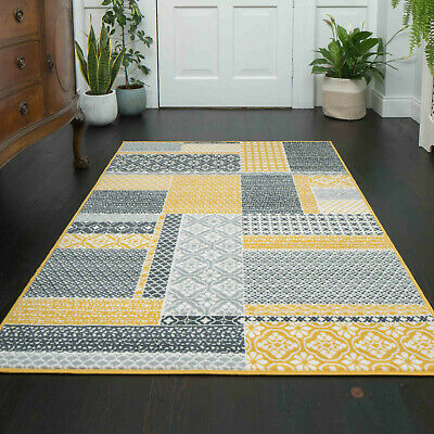 Circle Round Rug Mat Gold Mustard Yellow Ochre Runner Patchwork Traditional Rugs