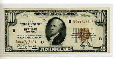 1929 $10 Federal Reserve Note ~New York~ # 1716