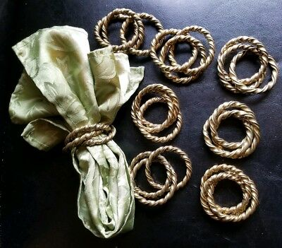 8~Vintage Napkin Rings, Three Ring, Twisted Brass, Heavy