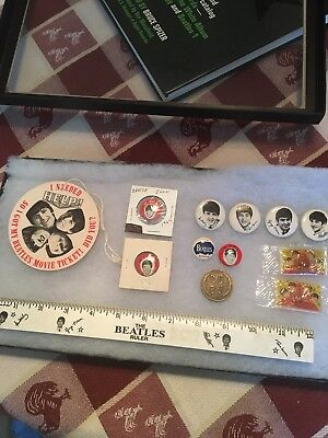 Beatles Vintage Memorabilia Lot Pins,Pomade,Coin,Ruler And Help Movie Badge NEMS