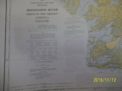Vintage NAUTICAL MAP OF MISSISSIPPI  RIVER  1969