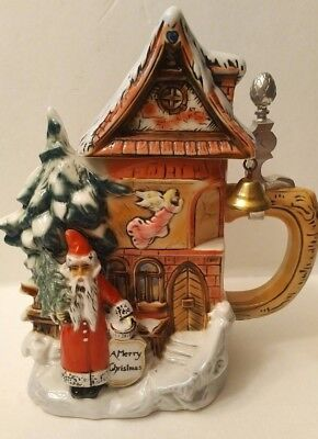 Albert Stahl MERRY CHRISTMAS Santa Lidded STEIN Germany limited edition