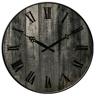 """Round Wooden Wall Clock 38cm Watch Silence Antique Design Home Decor 15"""" Large"""