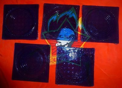 Antique Vintage old  lot 5 pcs Glass Panel Tile Prisms Blue 1900s