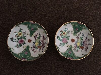 A Pair Of Chinese Pin Dishes - Handpainted - Collectable