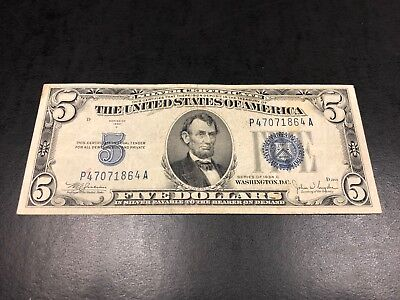 1934-C Blue Seal U.S $5 Five DOLLAR BILL BANK NOTE - Nice One - #864