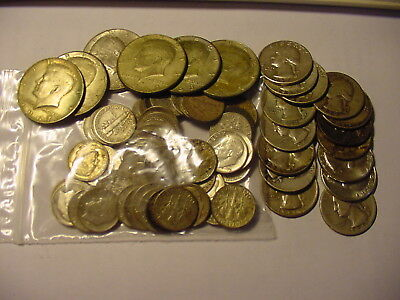 Lot Of Silver Coins- 90%- 50 Dimes, 15 Quarters & 6 40% Kennedy Halves