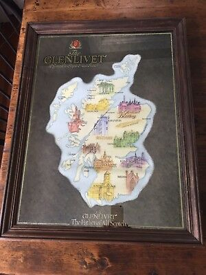 Rare vintage The Glenlivet,The Father of All Scotch mirror (grt cond) Map