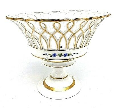 ANTIQUE EARLY 19th C. PARIS PORCELAIN FRENCH EMPIRE RETICULATED BASKET COMPOTE