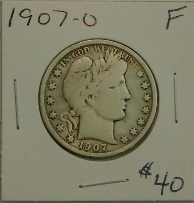 1907 O New Orleans Mint Silver Barber Half Dollar F  Check Pics!!