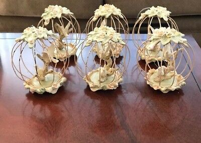 6 Victorian Birds/doves In Birdcage Ornaments   Shabby Chic