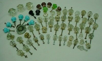 Lot of 68 Vintage Glass Pulls Knobs-clear/blue/green/black and one Doorknob
