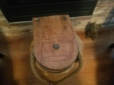 Vintage Large Industrial Barn Wood Pulley with short rope