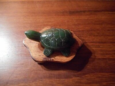 Hand Carved Dark Green Jade Turtle with Wood Stand