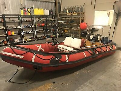 4.7M (15.4Ft) Zodiac Sib Inflatable Boat With Steering, Seats And Beach Dolly
