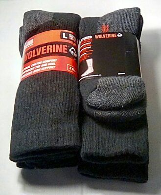 Wolverine Cotton Comfort Steel Toe Boot Sock, Large, Black, 4 pair $19.99