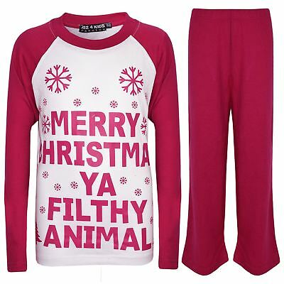 Kids Girls PJS Designer's Ya Filthy Animal Pink Christmas Pyjamas Age 2-13 Years