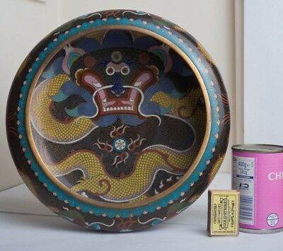 Large Chinese Cloisonne Enamel Dragon Censer Bowl Flamimg Pearl 5 Clawed Marked
