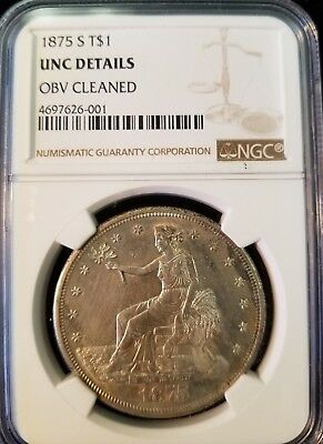 1875 S Seated Liberty Silver Trade Dollar T$1 Ngc Unc D Scarce Coin High Grade
