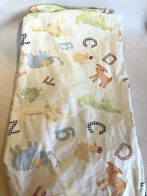 Pottery Barn Kids Alphabet Soup Crib Bed Fitted Sheet Animal Zoo