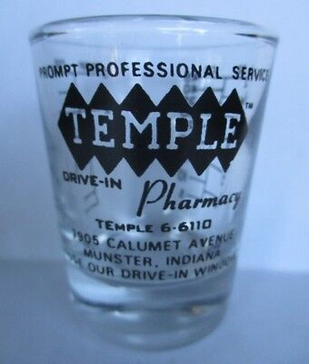 TEMPLE™ PHARMACY TEmple 6-6110 Munster IN ~ vintage Drug Store Rx Glass Measure