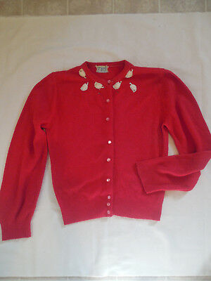 Vintage 50s 60s Orlon Cardigan Sweater Melody XS Small Dupont Acrylic Fiber Red