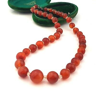 Vintage Jewellery Chinese Carnelian Agate Bead & Rock Crystal Necklace