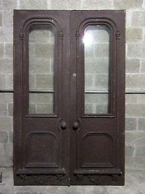 ~ Ornate Antique Walnut Double Entrance French Doors ~ 56 X 87 ~ Salvage