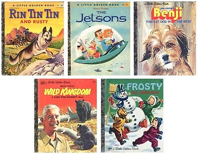 5 Vintage Little Golden Books: Rin Tin Tin, Jetsons, Benji, Wild Kingdom, Frosty